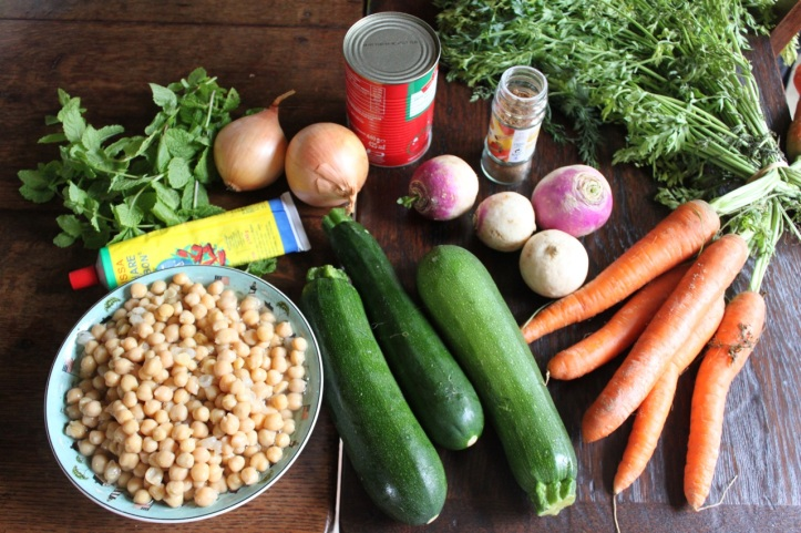 Couscous aux legumes - ingredients