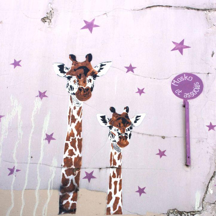 Girafes Mosko et Associes rue du cardinal lemoine street art 1