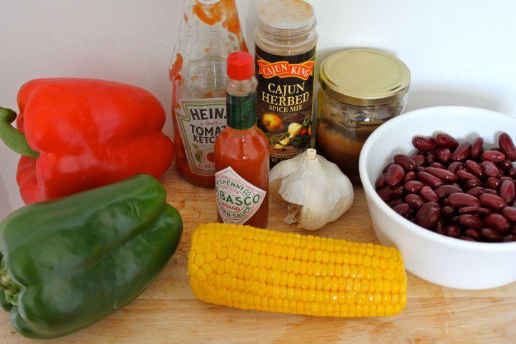 Recette cajun, riz cajun, haricots rouges, poivron, poulet marinade cajun, sauce pêches3