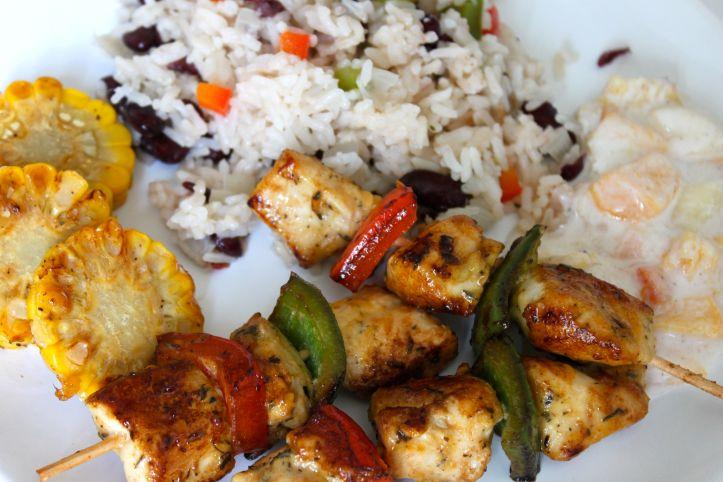 Recette cajun, riz cajun, haricots rouges, poivron, poulet marinade cajun, sauce peches